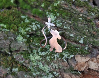 Valentine Gift for Dog Lover - Puppy Ring - Playing Dog Ring - Dog And Butterfly Ring - Copper Animal Ring - Dog Silhouette Ring