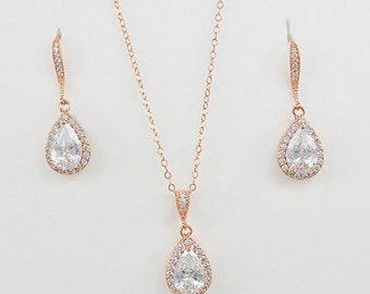 Rose Gold Tone Bridal Cubic Zirconia Jewelry Set, Silver, Yellow Gold, Teardrop, Crystals, Bridesmaid Gifts, Ear Wires - Aria Set