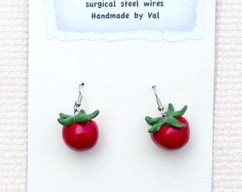 Tomato Earrings and Pin
