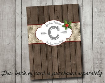 Photo Christmas Card Back Of Card Rustic Burlap on Vintage Wood and String Lights with Holly Custom Printable Digital