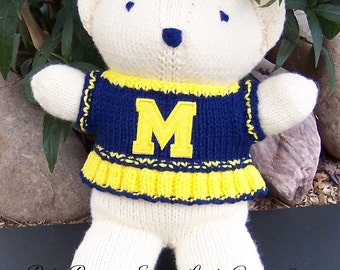 Bear, Michigan Wolverines, Cheerleader Bear, Baby Girl Bear, Shower Gift, Birthday Gift, Keepsake Bear, Valentine's Day