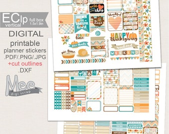 November stickers,Thanksgiving stickers,Printable planner stickers,Weekly sticker kit for use in Erin Condren planner,fall  stickers