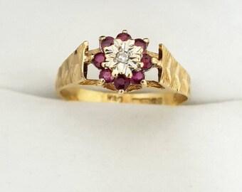 Vintage 9ct Yellow Gold, Ruby & Diamond Ring