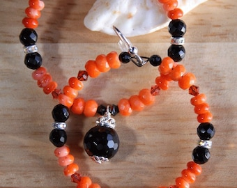 Black Onyx Coral Hoop Earrings CORAL FUSION