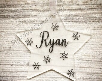 Personalised frosted star, tree decoration for Christmas, unique decoration, glittered name