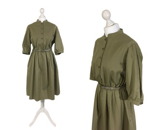 Military Style Dress | Vintage 1980's Olive Green / Khaki Dress | UK Size 16