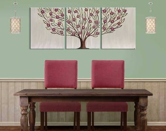 Dining Room Wall Art Paintings On Canvas Triptych, Large Tree In Warm Gray  With Sculpted