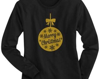 Merry Christmas Gold Ornament Women's Long Sleeve T-shirt - Raw-Edge Raglan - Short Sleeve T-shirt - V-Neck Fitted T-shirt