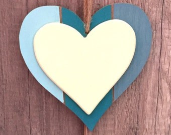 Heart wooden hanging decoration of blue and yellow gradient