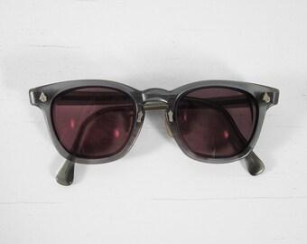 Vintage American Optical Glasses Horn Rimmed Translucent Gray Resin Frames