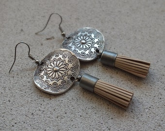 Bohemian Earrings Ethnic Tribal earrings Tassels Antique silver earrings
