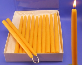 Hand Dipped Beeswax Tapers, 18 Pair of 5/8 x 10 Beeswax Candle Tapers, Pure Beeswax Candles, Fine Dining Candles, Wedding Candles