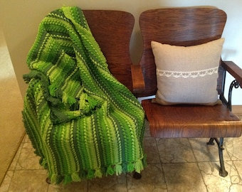 Vintage Crochet Afghan in bright green