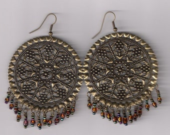 Brass Earrings with Amber Seed Beads