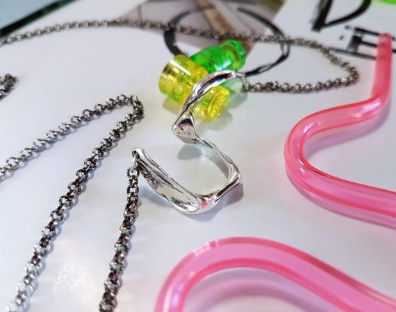 Long Silver Necklace | Minimalist Jewelry | Unique Necklace | Silver Pendant