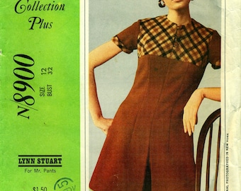 McCall's 8900 YOKED PANTDRESS or Dress New York Designers' Collection Plus Bust 32  ©1967