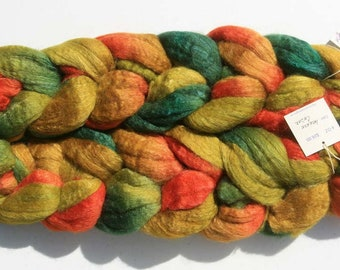Polwarth Tussah Silk Spinning Fiber - 'Incense Cedar'