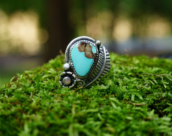 Pilot Mountain Turquoise Feather Ring
