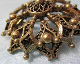 "Vintage 1950's ""Hedy"", Gold Tone Metal Brooch, Pin"