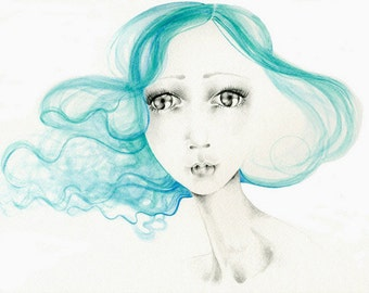"Aqua Teal Hair Painting Print of My Original Watercolor Painting She's Called ""Summer"" Aqua Hair Pretty Painting of a Girl Big Eye Art Salon"