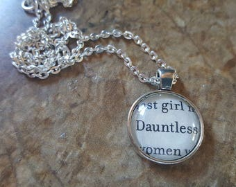 Divergent Faction 20mm book page pendant necklace