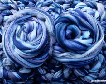 Galaxy - Merino Custom Blend - 4 oz - Combed Top, Roving - Spin, Felt, Fiber Art - Purples and Blues