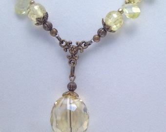 Citrine Swarovski Crystal Necklace