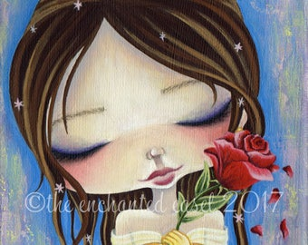 Belle Art Print, Hand Embellished, Girls Room, Princess, Beauty and the Beast, Girls Art Print, Disney, Fairy Tale, Whimsical, Rose