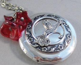 Red Hummingbird,Locket,Silver Locket,Flower,Bird,Red Locket,Red Flower,Red Necklace,Ruby Necklace,Ruby,Antique Locket,valleygirldesigns