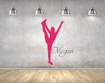 Cheerleader, Dancer, Gymnast, Handstand, Personalised, Name, Girls Decor, Cheer,  Wall Art Vinyl Decal Sticker