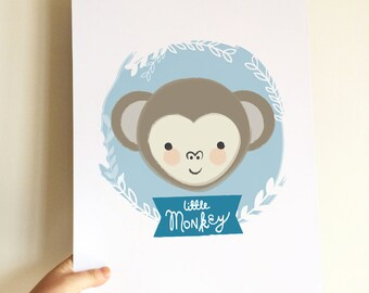 Little Monkey, nursery kids room decor, digital download wall art print, cute primate ape illustration drawing birth print