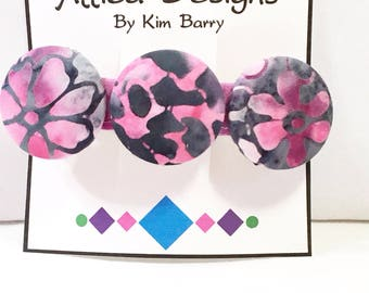 Pink and Gray Batik Floral Fabric Covered Button Barrette- Free Shipping in the US