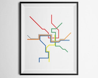 Transit Map of Washington D.C. DC Metro UPDATED with SILVER line Metrorail Minimalist Print
