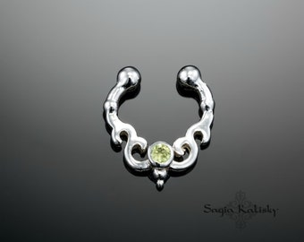 Fake Septum Ring For Non Pierced Nose, 925 Sterling Silver, Faux Septum Ring, Septum Cuff, Fake Piercing, Nose Cuff