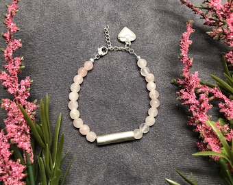Rose Quartz Bracelet with Silver-Plated Tube Focal Bead and Heart Charm
