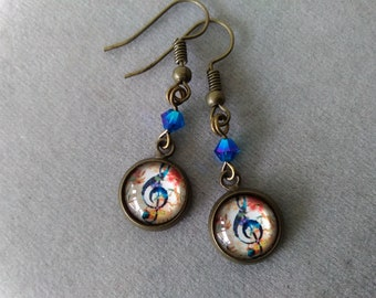 Treble Clef and Swarovski Crystal Earrings