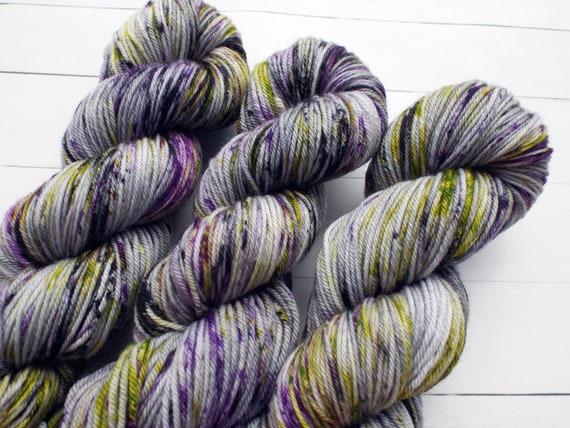 Hand Dyed Yarn 100% Superwash Merino Yarn Worsted Weight Yarn - 220 Yards - Tonal Speckled Yarn Grey Yarn Purple Yarn Yellow Yarn Black Yarn