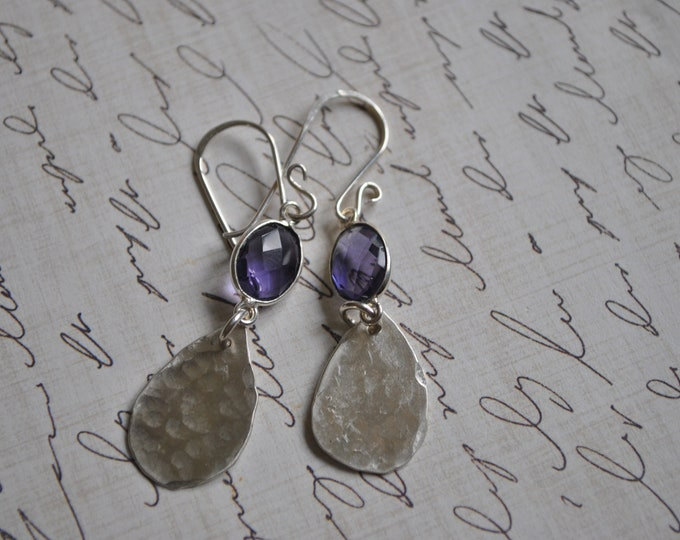 Sterling silver dangling earrings, textured metal earrings, purple, artisan earrings