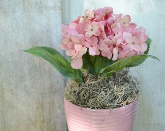 Pink Hydrangea Arrangement Ceramic Container Large Arrangement