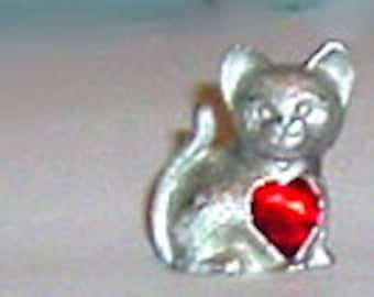 CAT with HEART #15 - PEWTER