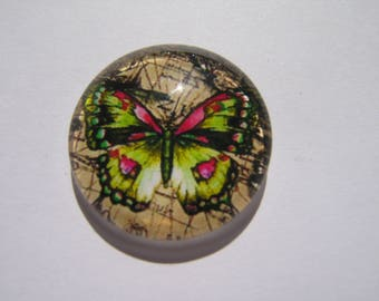 Rose cabochon 25 mm round domed with a yellow butterfly image