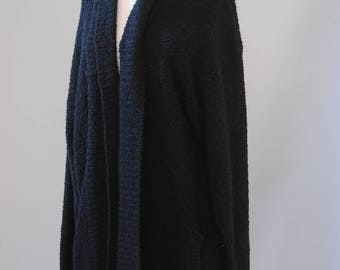 Vintage Sweater 80s Oversized Open Front Cardigan Chunky Knit Sweater Black Sweater OS