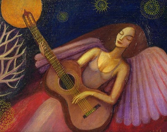 Angel and Guitar, Giclee print.