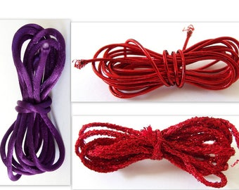 2 Yards Each Red and Purple Cording Collection