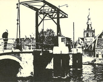 Vintage 1950s Postcard Netherlands Holland Rotterdam Overschie Canal Bridge View Block Printed Photochrome Card Postally Unused