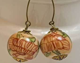Vintage Chinese Porcelain Yellow Cinnabar Red Green Bead Earrings Dangle Bead Earrings Flowers, Chinese Calligraphy,Handmade Brass Ear Wires