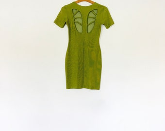 1980s lime green cut out back body con mini dress.// size xs - small