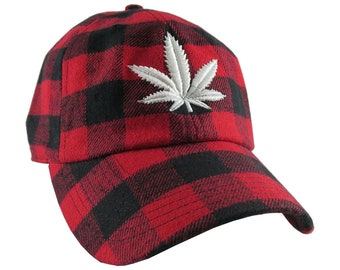 Cannabis Pot Leaf 3D Puff White Embroidery on Red Black Buffalo Check Lumberjack Plaid Soft Structured Fashion Baseball Cap Dad Hat Style