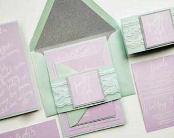 Lace wedding Invites elegant wedding invitations lavender and mint wedding invitation spring wedding invites {Florence design}