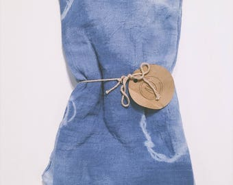 Pair of  Shibori or Ombre Dyed Tea Towels